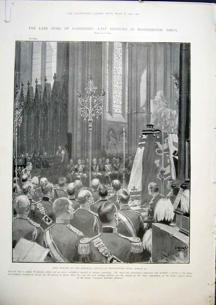 Print Westminster Abbey Memorial Marlborough Duke Cambridge 50Amaa0 Old Original