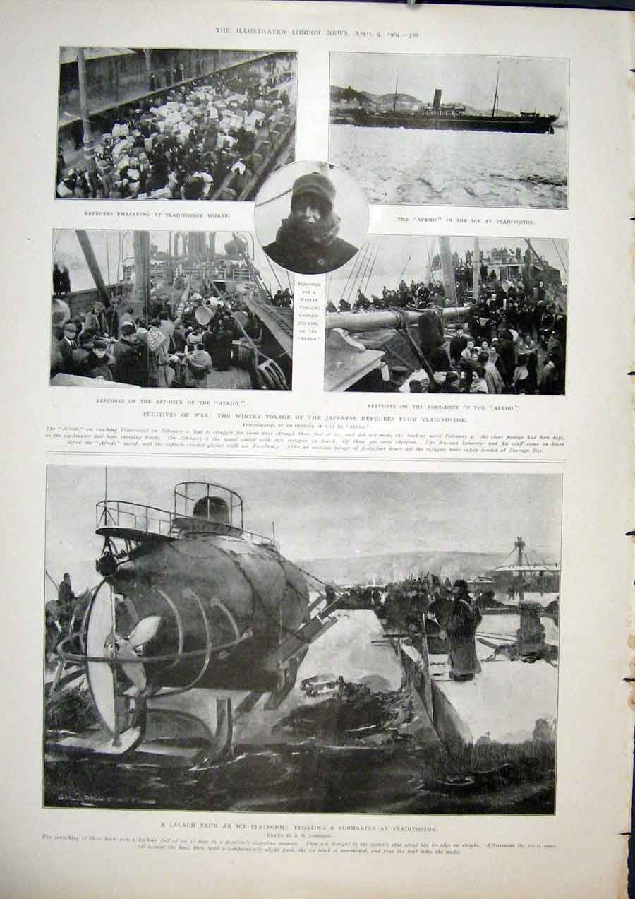 Print Japanese Refugees Vladivostok Submarine Afridi Ship 20Maa0 Old Original