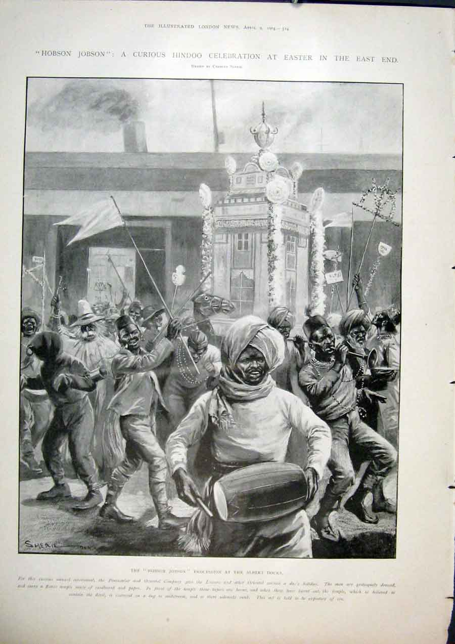 Print Hobson Jobson Hindoo Celebration Easter London Dock 24Maa0 Old Original