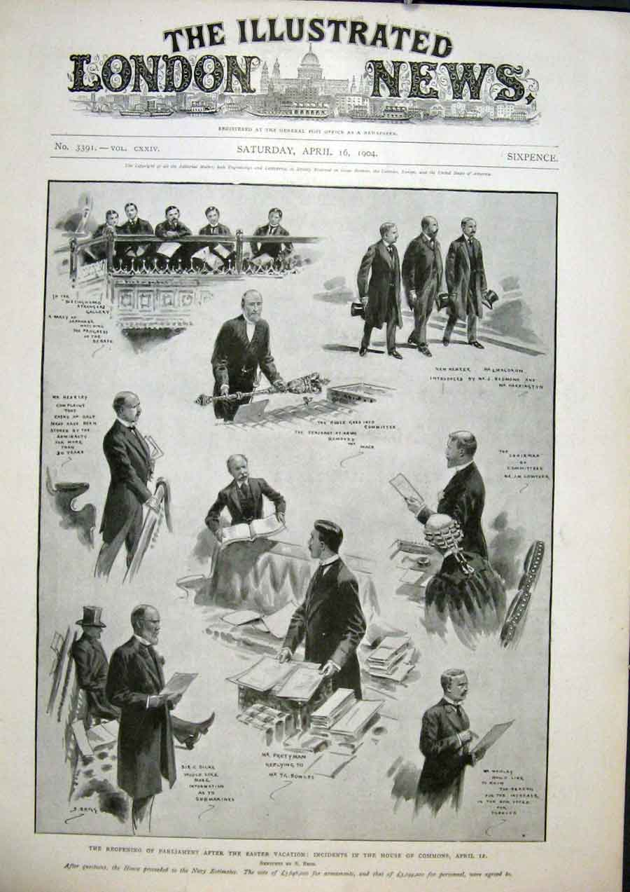 Print Parliament House Commons London England Begg 1904 52Maa0 Old Original
