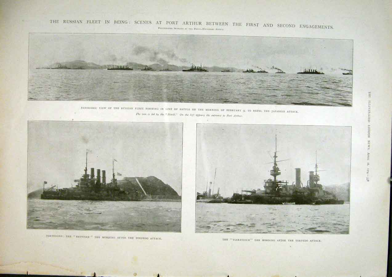 Print Russian Fleet Ships Port Arthur Russia Navy Tsarevitch 58Maa0 Old Original