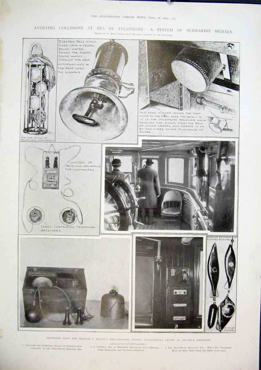 Print Telephone Sea Submarine Signals Gray Mundy 1904 73Maa0 Old Original