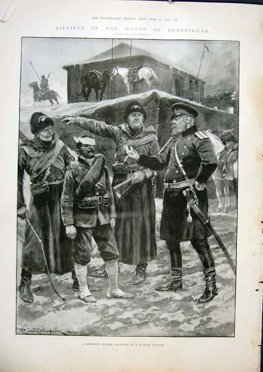 Print Lilliput Brobdignag Japanese Soldier Russia Japan War 48Amaa0 Old Original