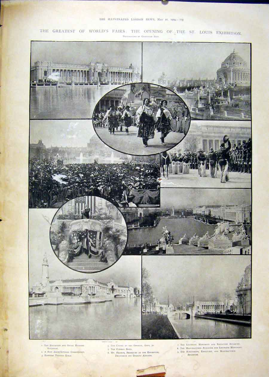 Print St Louis Exhibition World Fair Francis Buildings Cowboy 73Maa0 Old Original