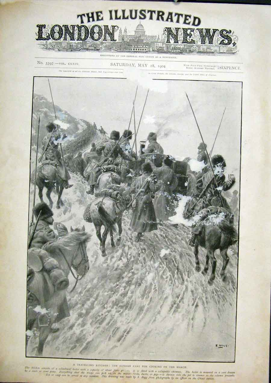 Print Kitchen Travelling Russian Cart Troops 1904 92Maa0 Old Original