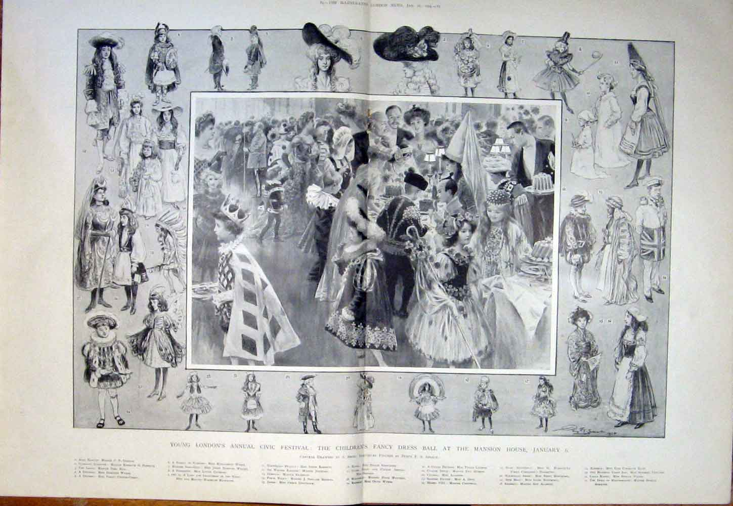 Print London Civic Festival Children Fancy Dress Ball Mansion 03Tmaa0 Old Original