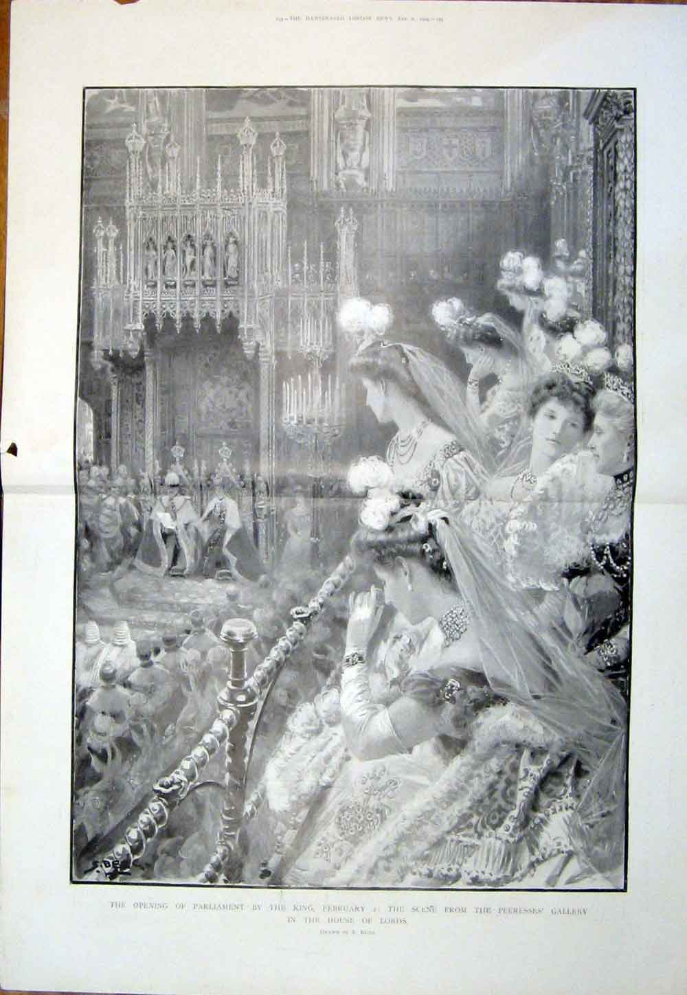 Print Parliament House Lords King London Peeress Gallery 1904 06Tmaa0 Old Original