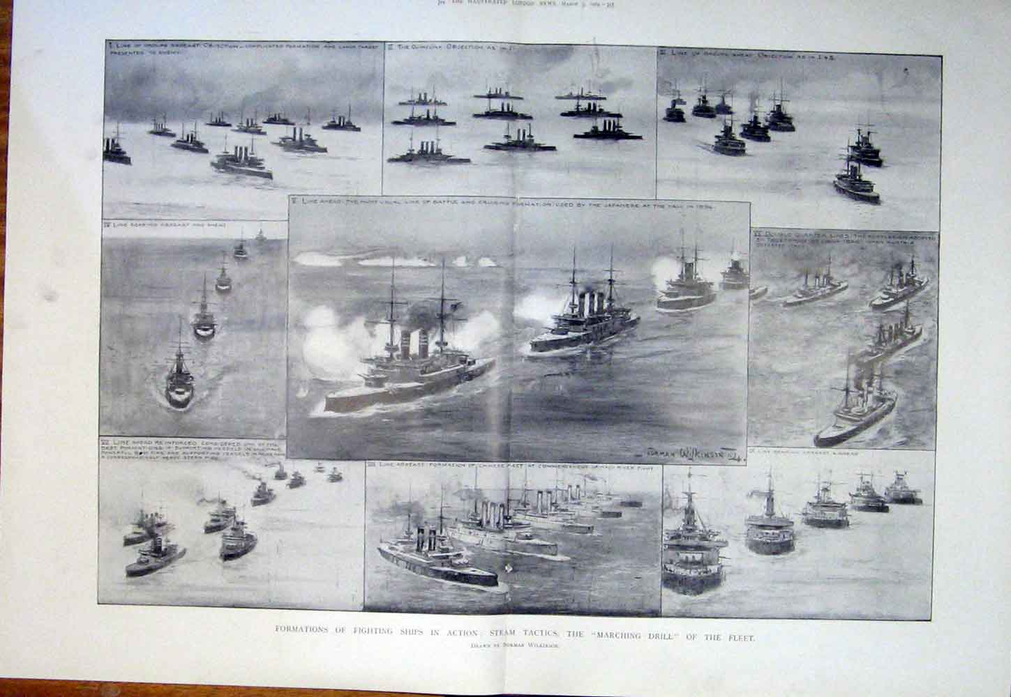 Print Steam Tactics Marching Drill Fleet Ship Ships Formation 11Tmaa0 Old Original