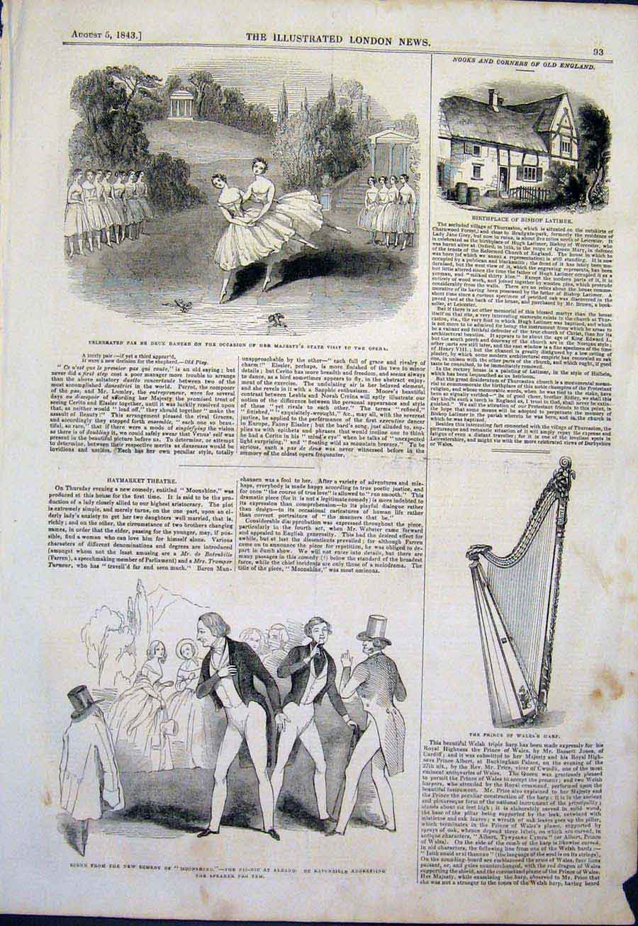 Print Theatre Opera Haymarket Harp Bishop Latimer 1843 93Maa1 Old Original