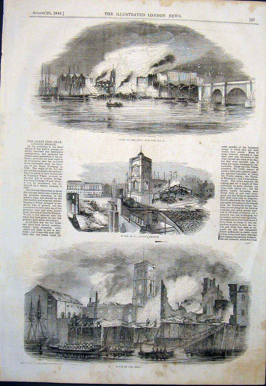 Print River Fire Thames London Bridge St Olave'S Church Ruin 37Maa1 Old Original