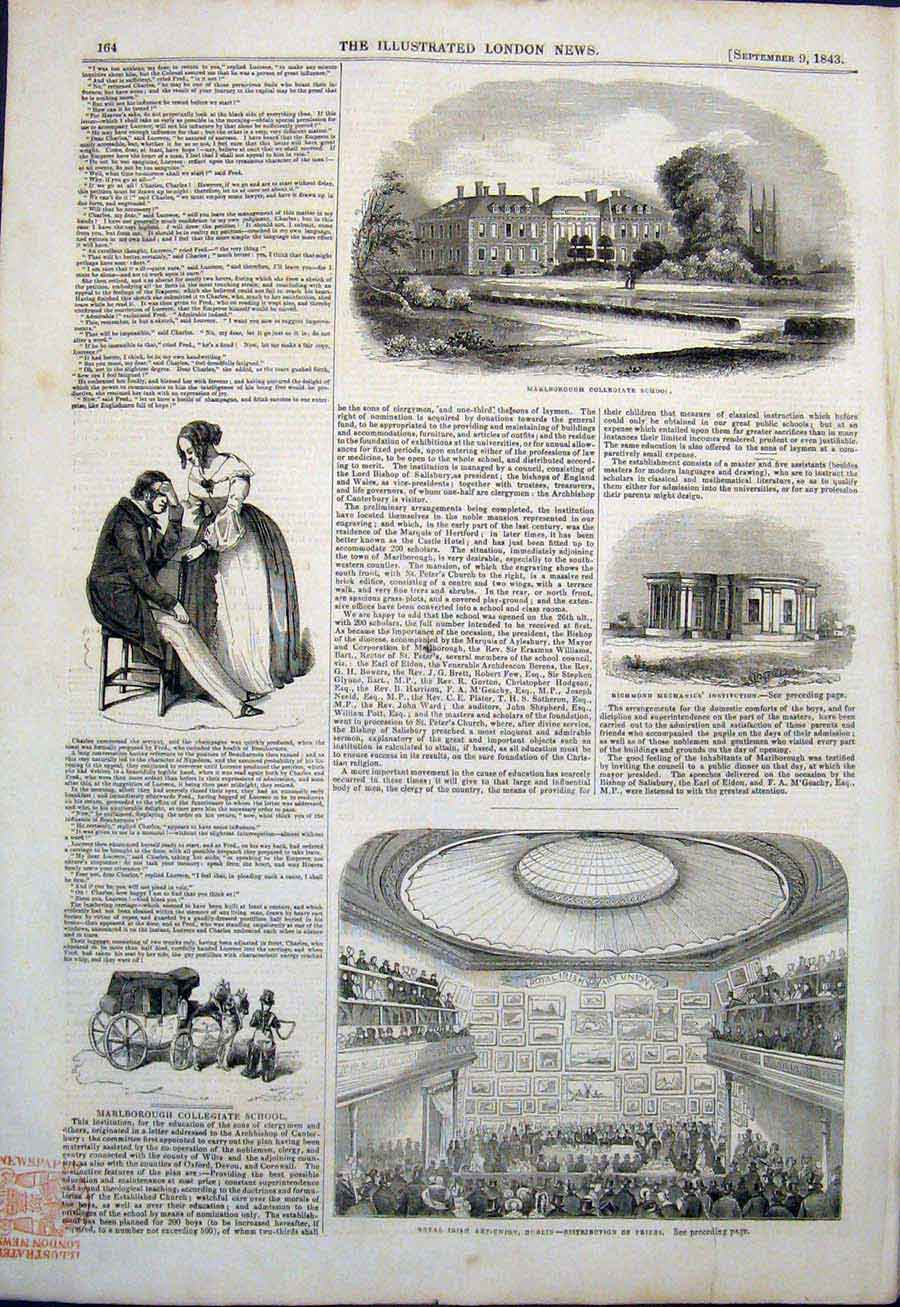 Print Marlborough Collegiate School Richmond Dublin Art Irish 64Maa1 Old Original