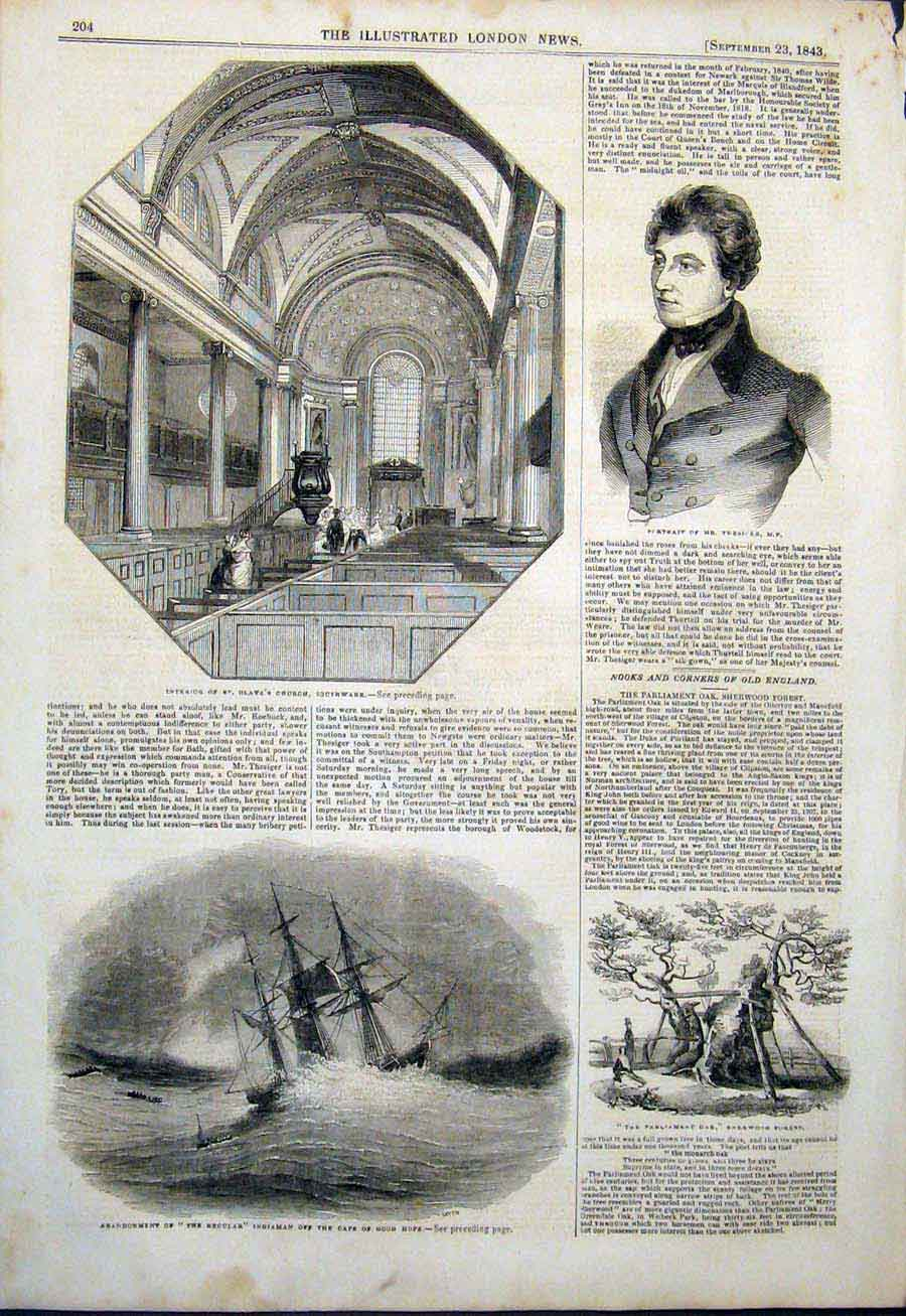Print Olave'S Church Southwark Regular Ship Africa Thesiger 04Maa1 Old Original
