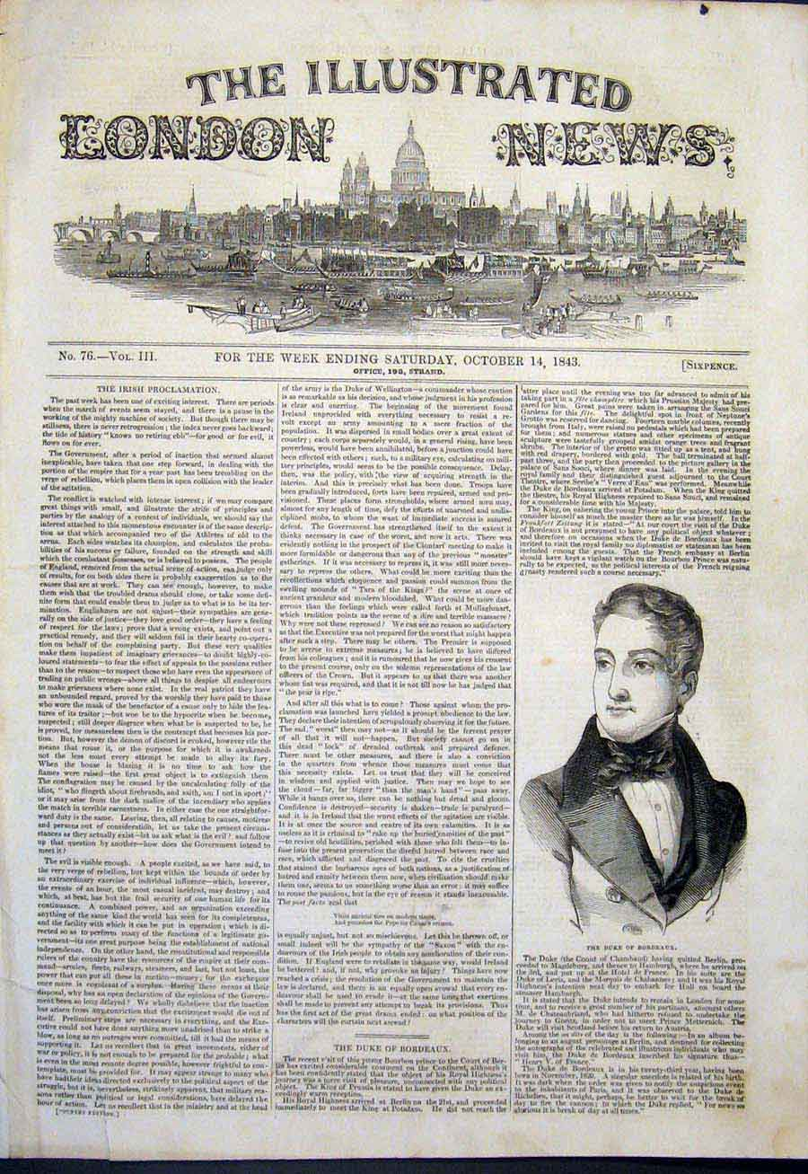 Print Portrait Duke Bordeaux London 1843 42Maa1 Old Original