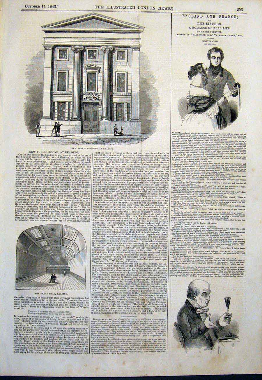 Print Public Building Reading Great Hall 1843 53Maa1 Old Original