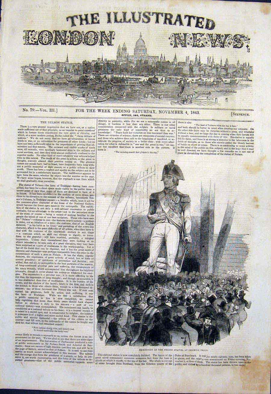 Print Nelson Statue Charing Cross Exhibition 1843 90Maa1 Old Original