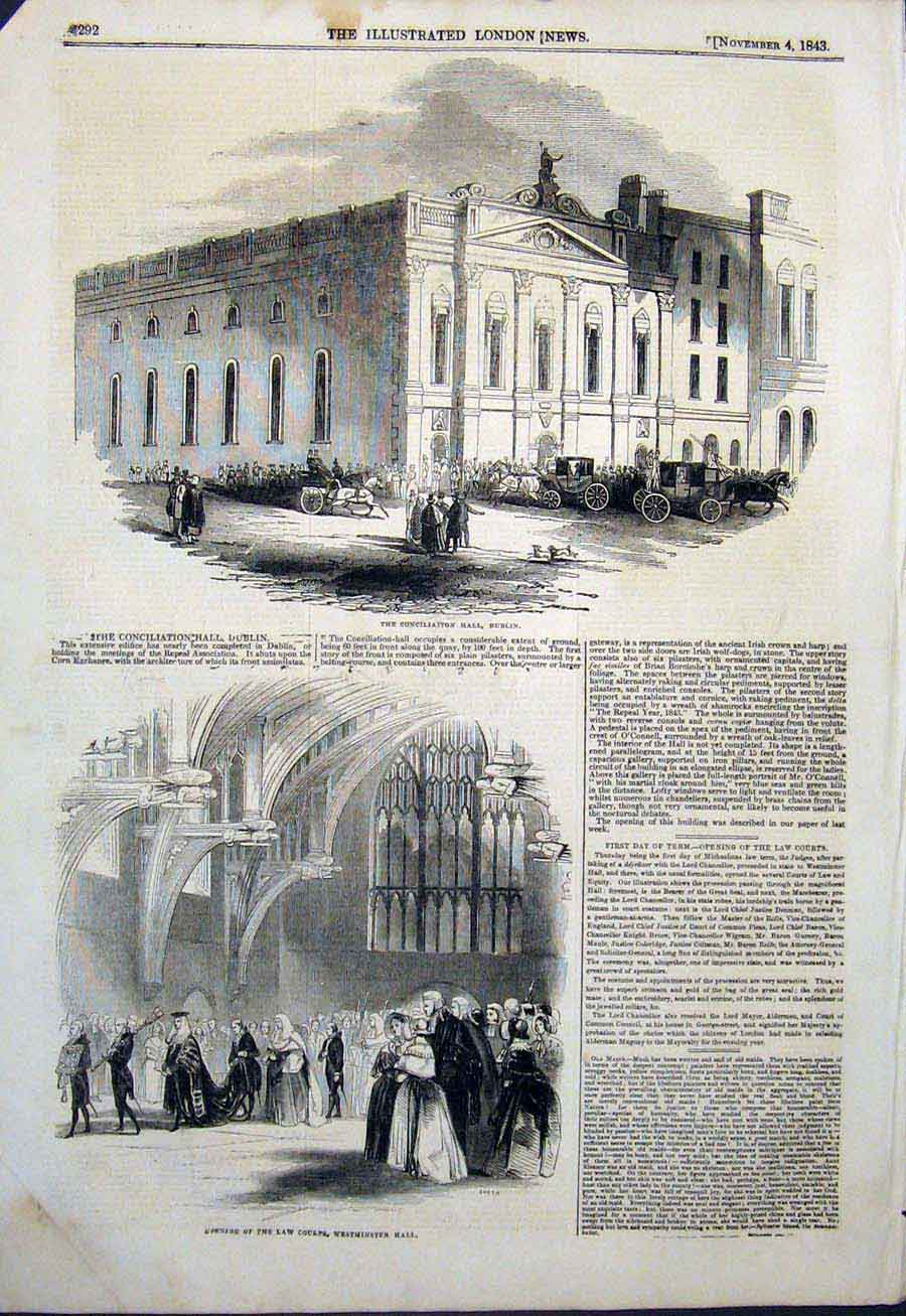 Print Conciliation Hall Dublin Ireland Law Court Westminster 92Maa1 Old Original