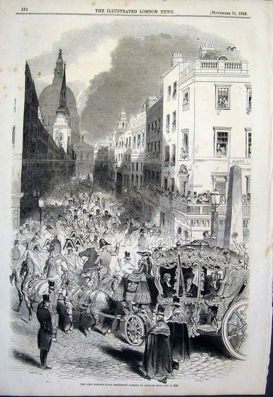 Print Lord Mayor Procession Ludgate Hill London 1843 12Maa1 Old Original