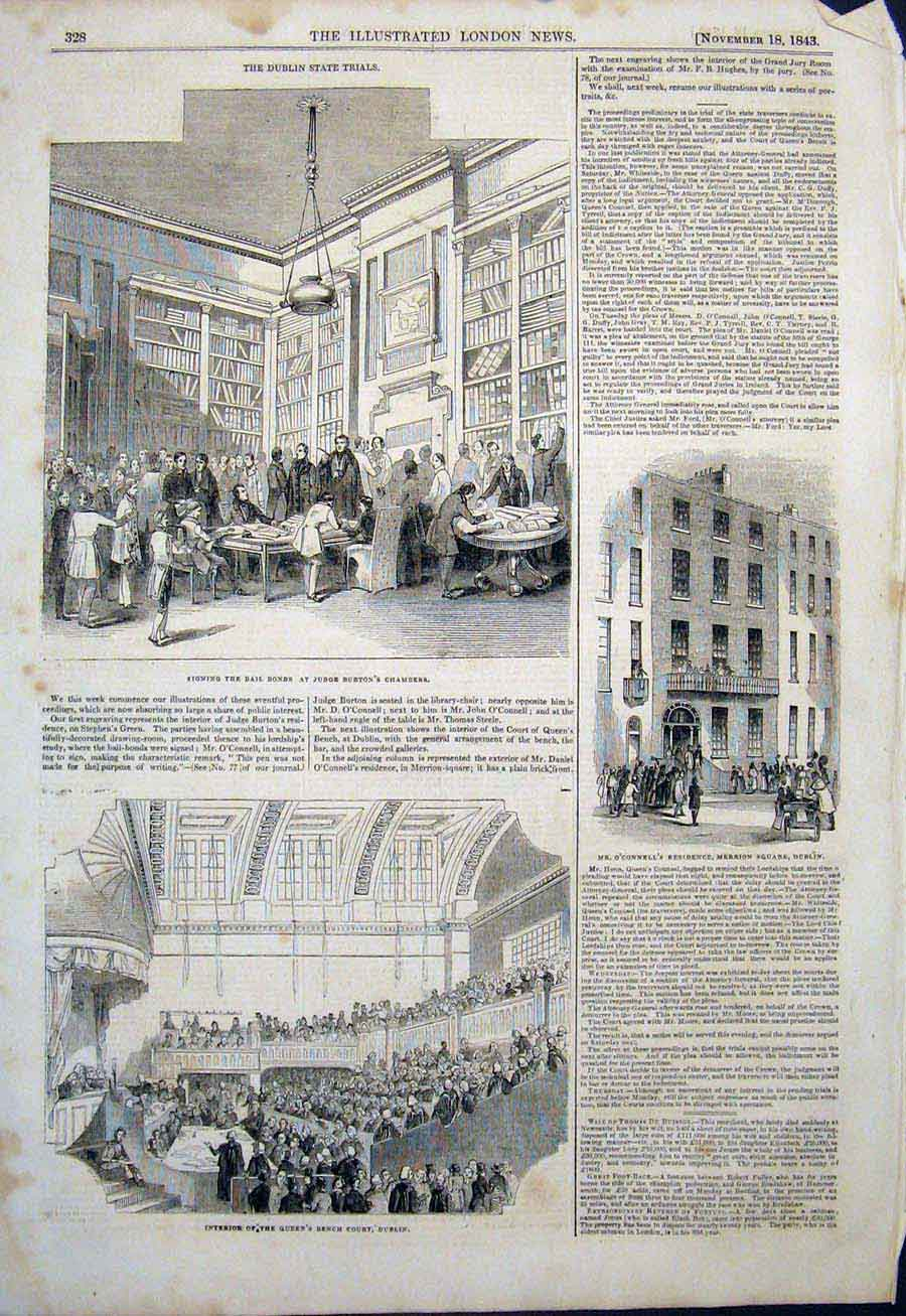 Print Judge Burton Chambers Dublin O'Connell Merrion 1843 28Maa1 Old Original