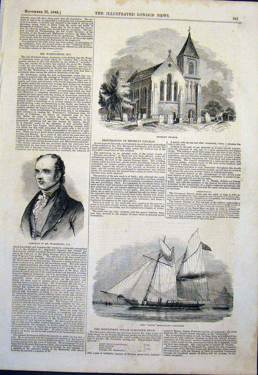Print Bromley Church Portrait Warburton Dove Schooner 1843 41Maa1 Old Original