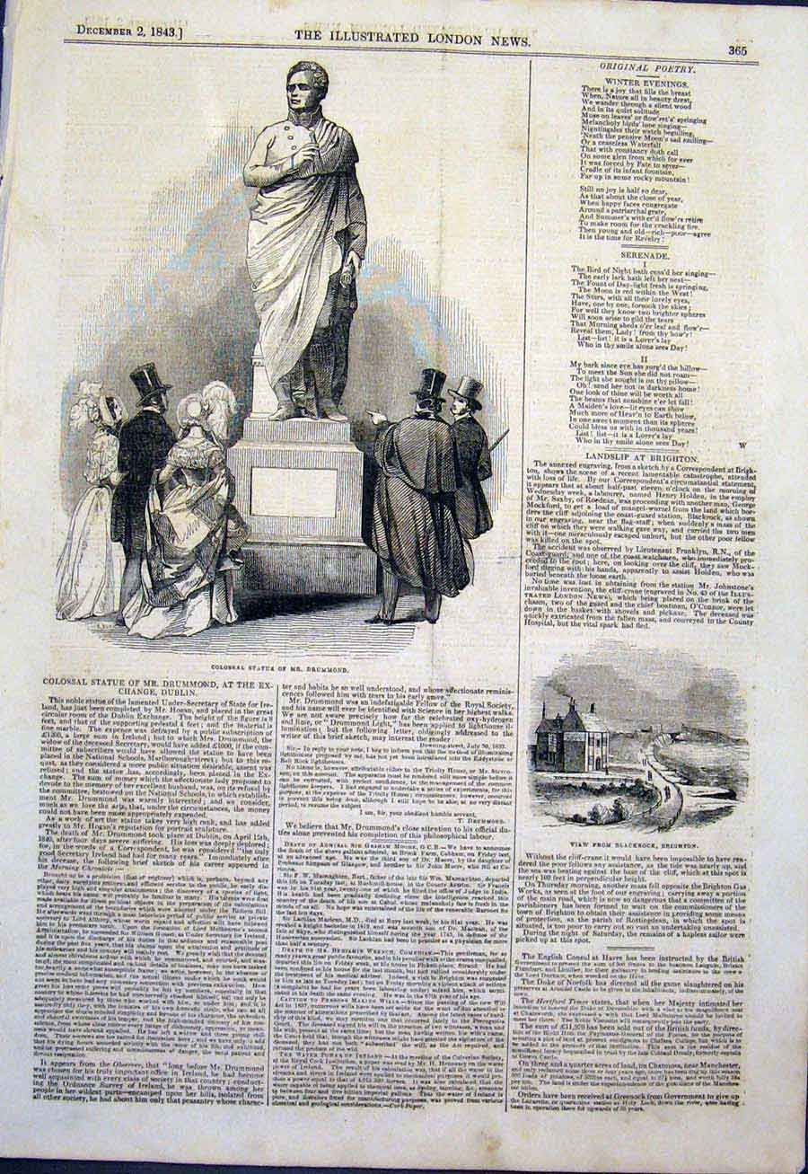 Print Statue Drummond Dublin Ireland Blackrock Brighton 1843 65Maa1 Old Original