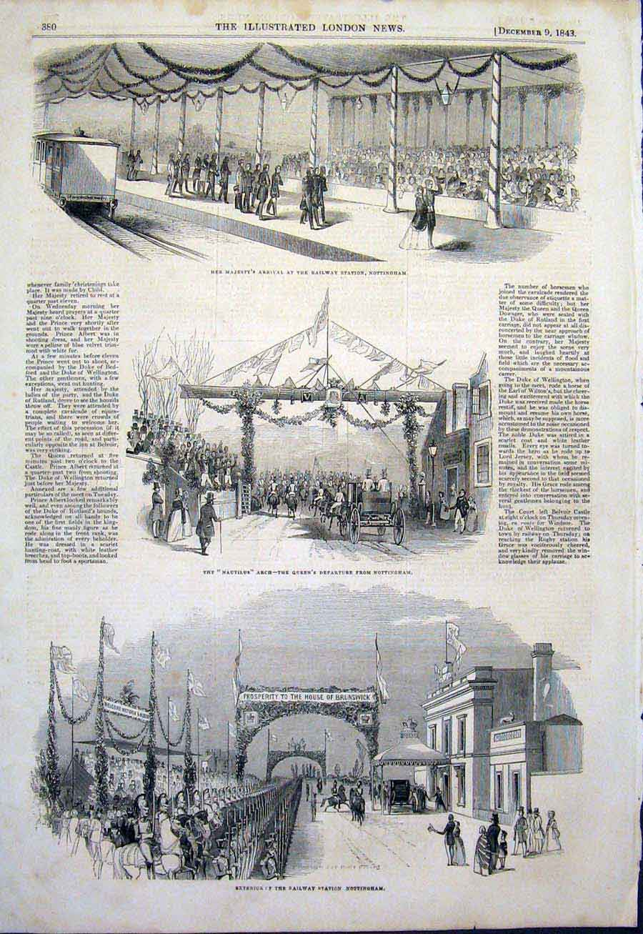 Print Railway Station Nottingham Queen Nautilus Arch 1843 80Maa1 Old Original