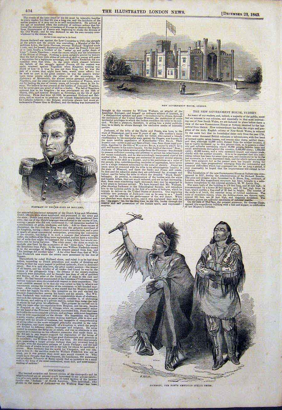 Print Sydney Government Portrait Ex-King Holland Indian Chief 04Maa1 Old Original