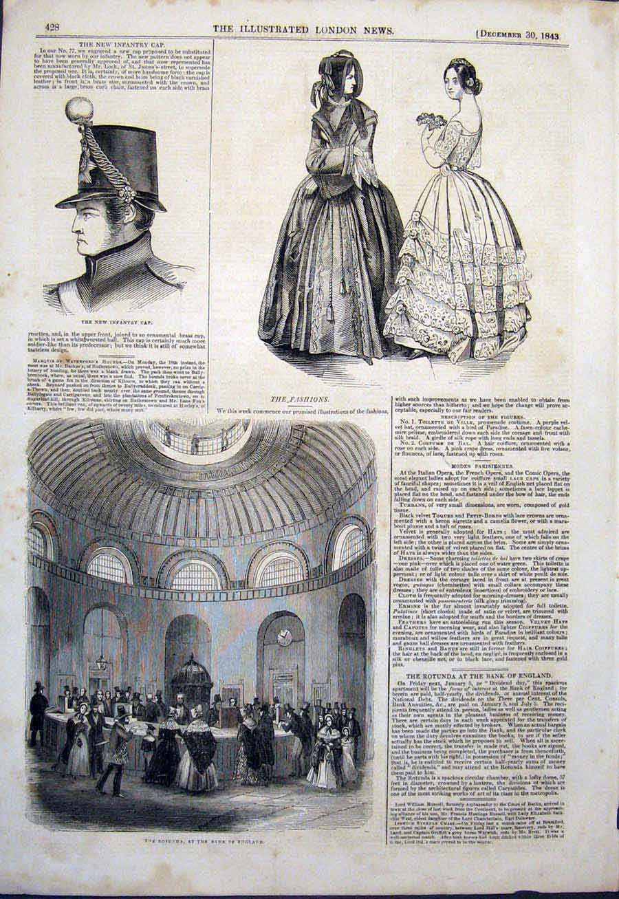 Print Infantry Cap Fashion Rotunda Bank England 1843 28Maa1 Old Original