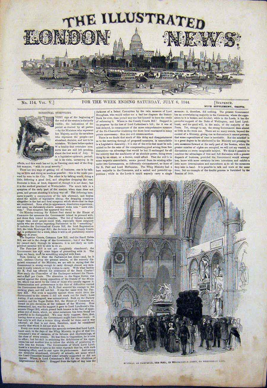 Print Funeral Campbell Poet Westminster Abbey London 1844 02Maa1 Old Original