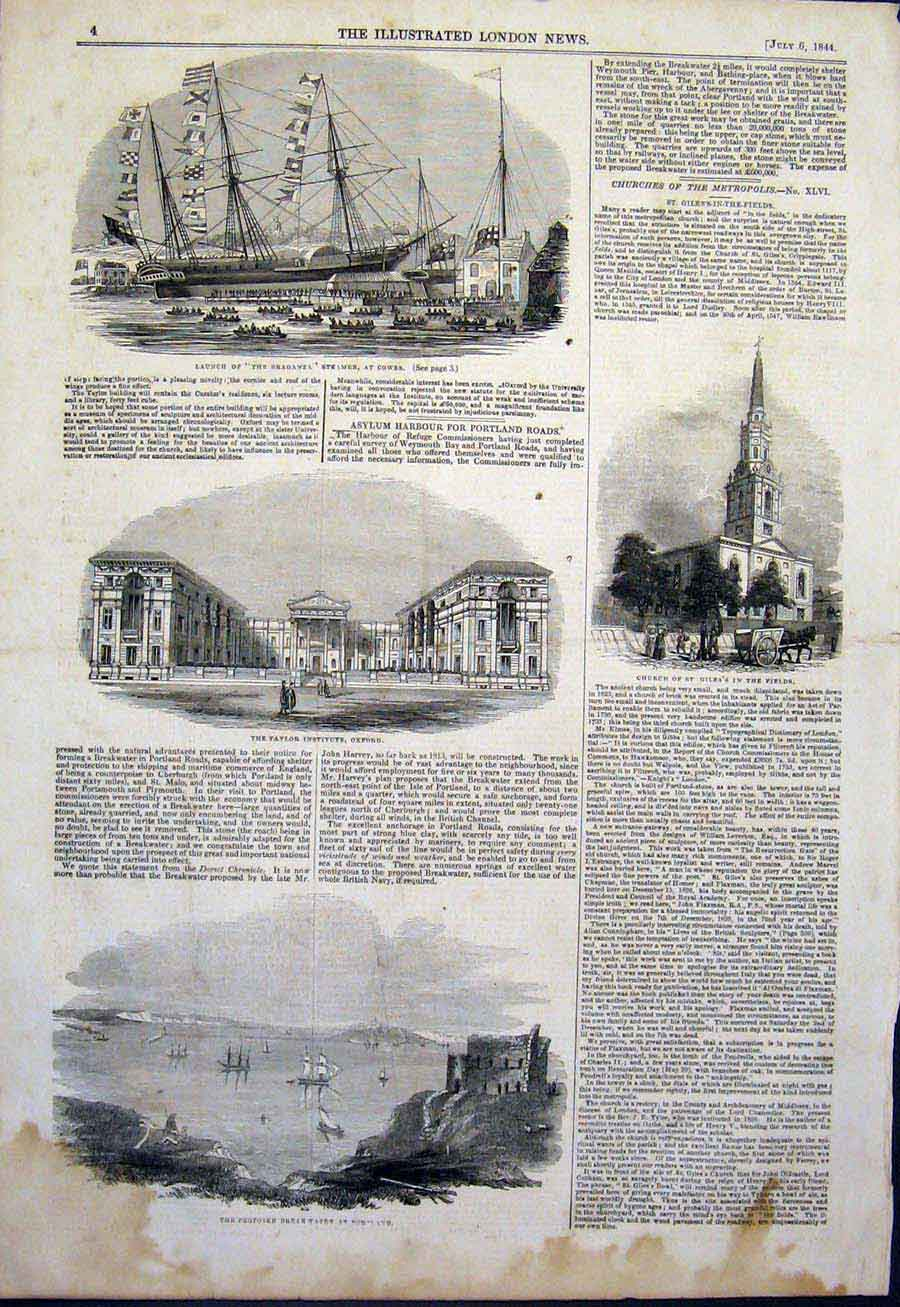 Print Braganza Ship Cowes Church Taylor Oxford Portland 1844 04Maa1 Old Original