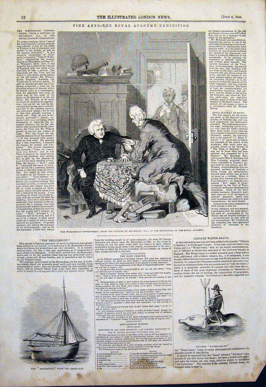 Print Whistonian Controversy Mulready Hellespont Water Brave 12Maa1 Old Original