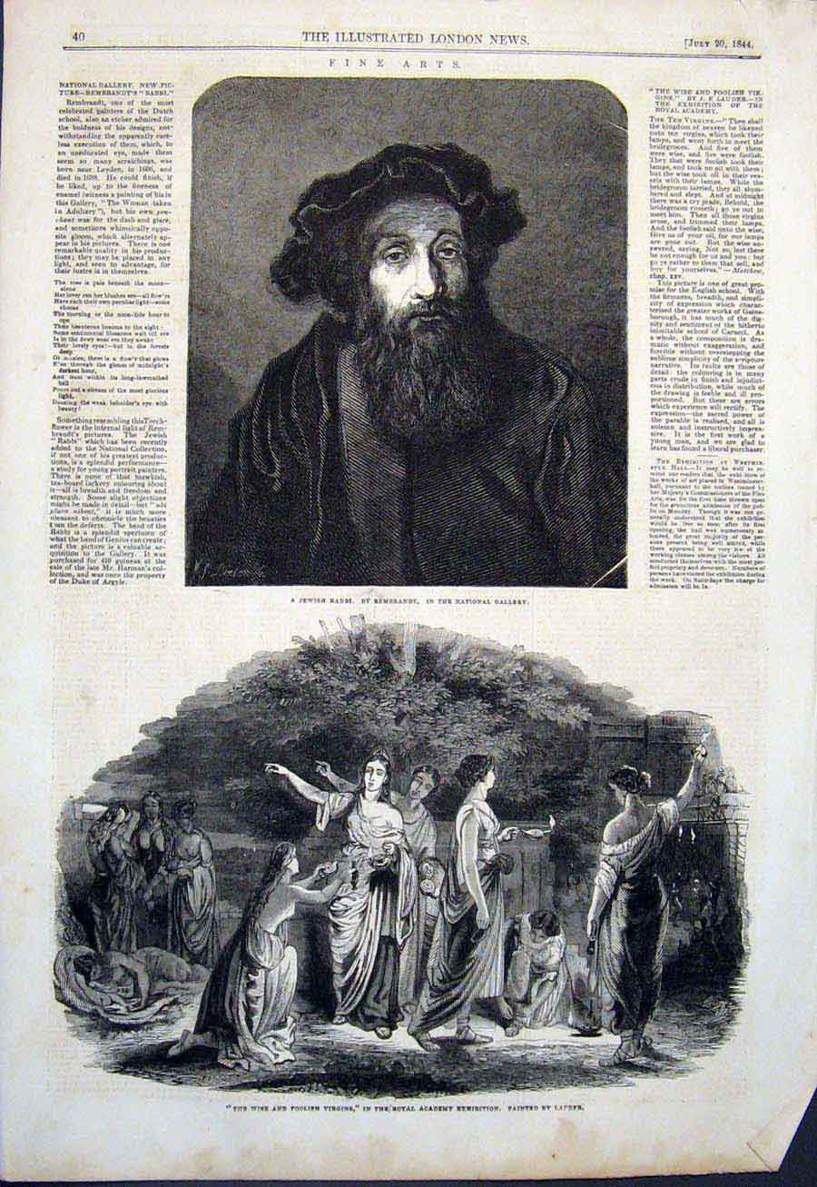 Print Jewish Rabbi Rebrandt Lauder Virgins Wise Foolish 1844 40Maa1 Old Original