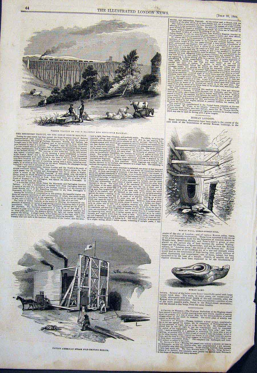 Print Viaduct Railway Steam Engine Roman Wall Lamp London 44Maa1 Old Original
