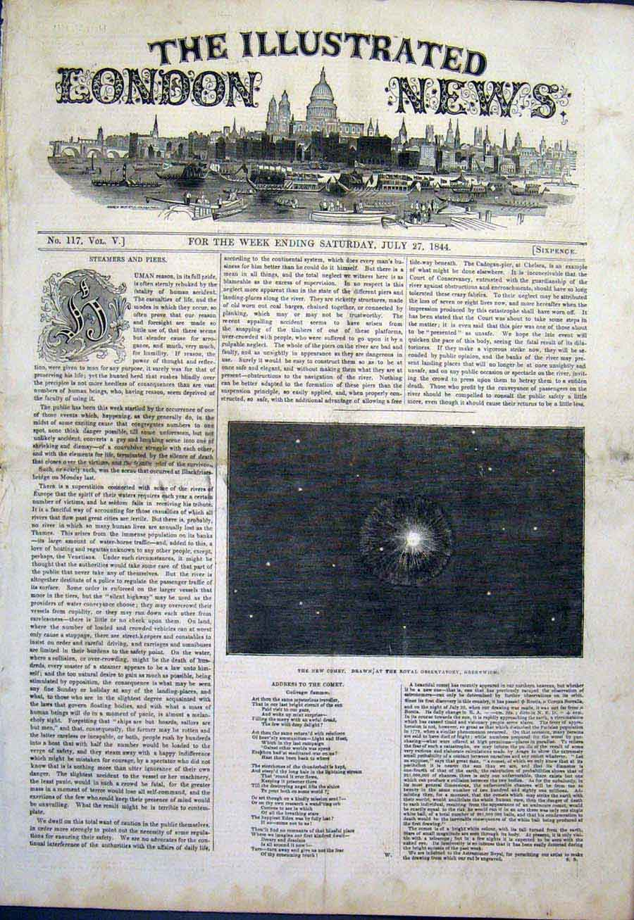 Print Comet Royal Observatory Greenwich London 1844 50Maa1 Old Original