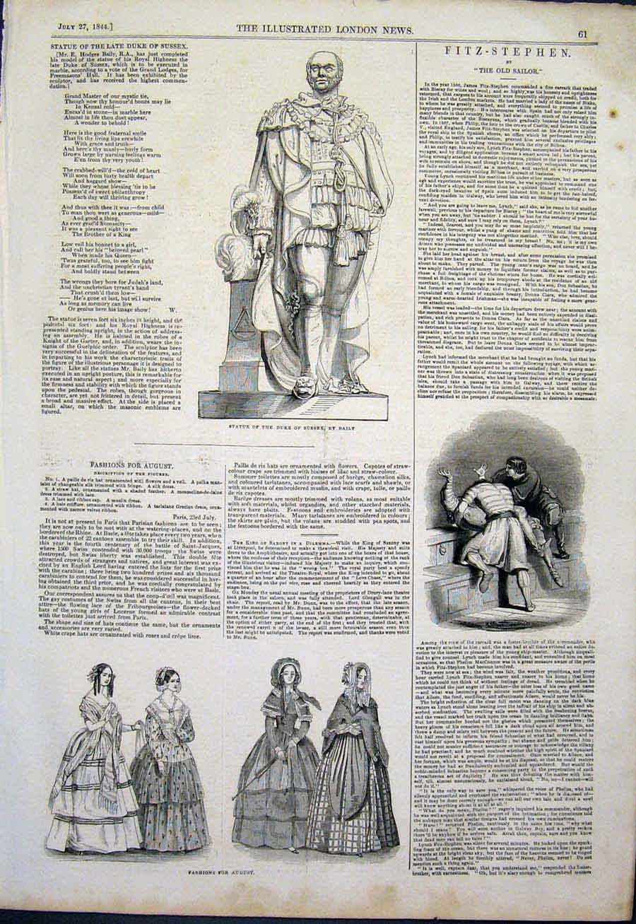 Print Statue Duke Sussex Baily Fashion Fitz-Stephen Sailor 61Maa1 Old Original