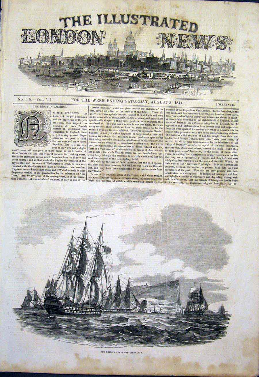 Print British Fleet Gibraltar Sea Ship Ships 1844 66Maa1 Old Original