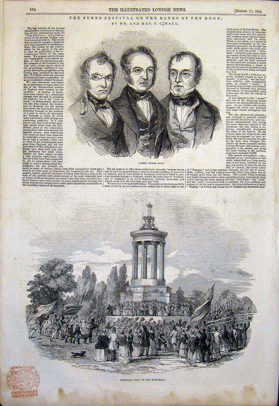 Print Burns Festival Doon Procession Scotland Poet 1844 04Amaa1 Old Original
