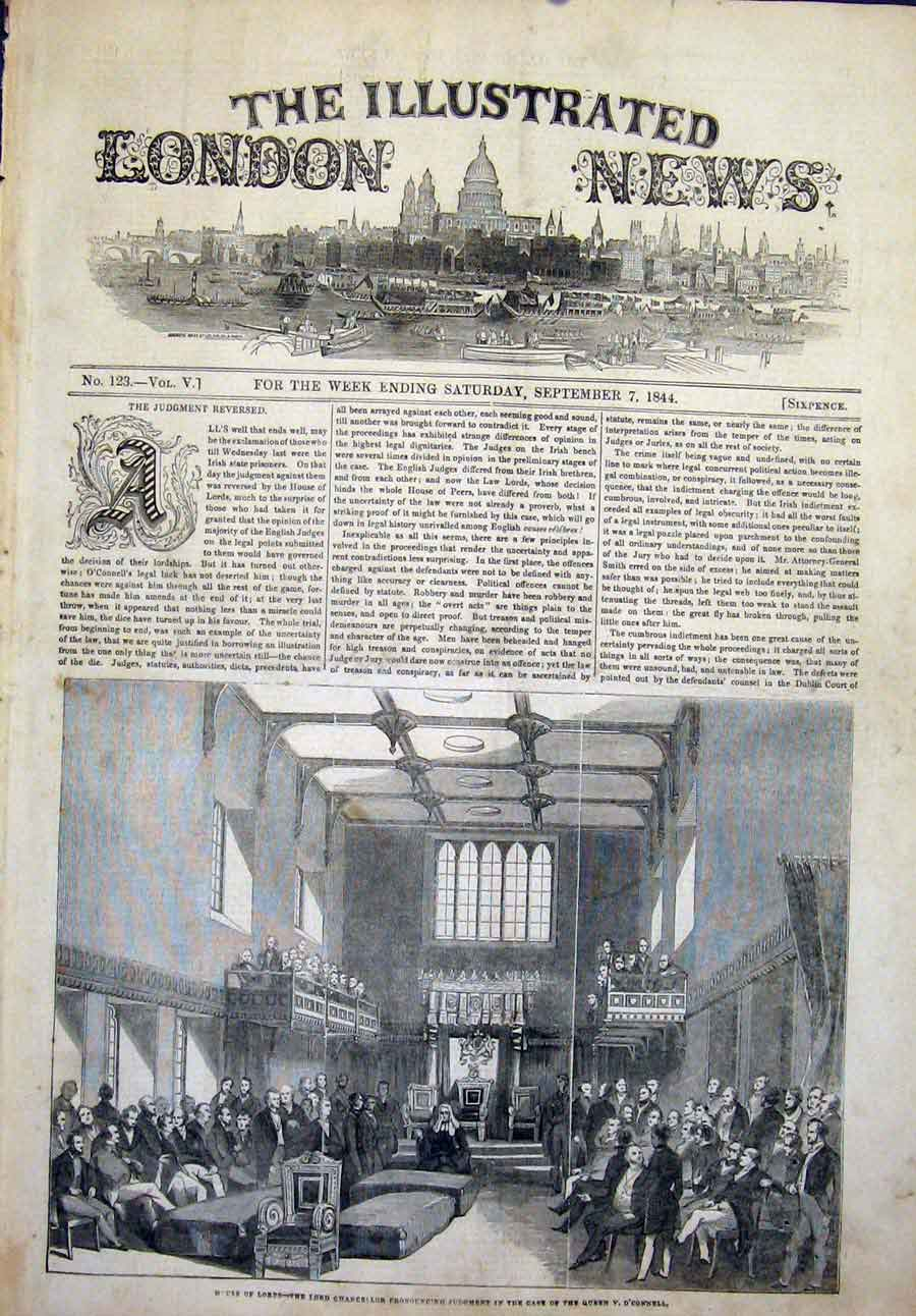 Print House Lords Queen O'Connell Chancellor London 1844 46Maa1 Old Original