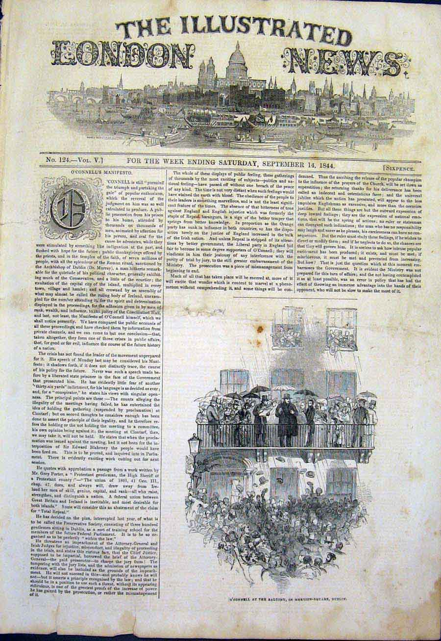 Print O'Connell Merrion-Square Dublin Ireland 1844 62Maa1 Old Original