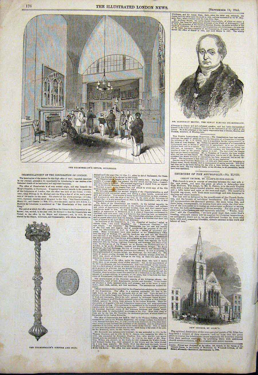Print Chamberlain Guilhall Alderman Brown Sceptre Seal Church 76Maa1 Old Original