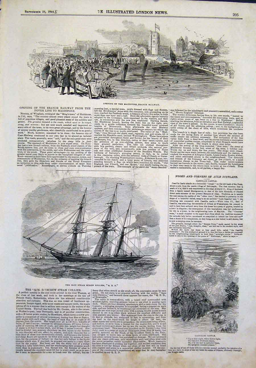 Print Maidstone Railway Iron Steam Screw Ship Cassilis Castle 05Maa1 Old Original