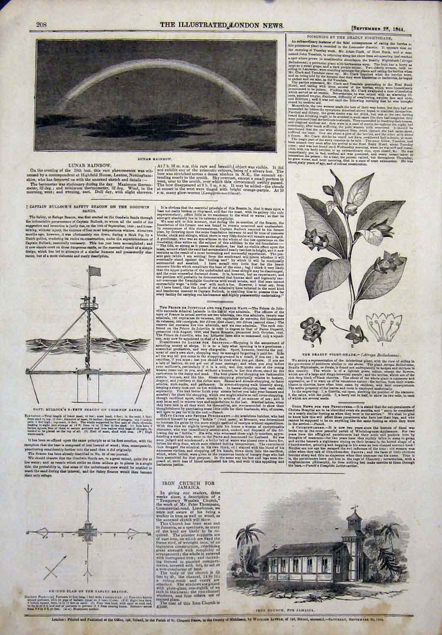 Print Lunar Rainbow Bullock Goodwin Night-Shade Flower Church 08Maa1 Old Original