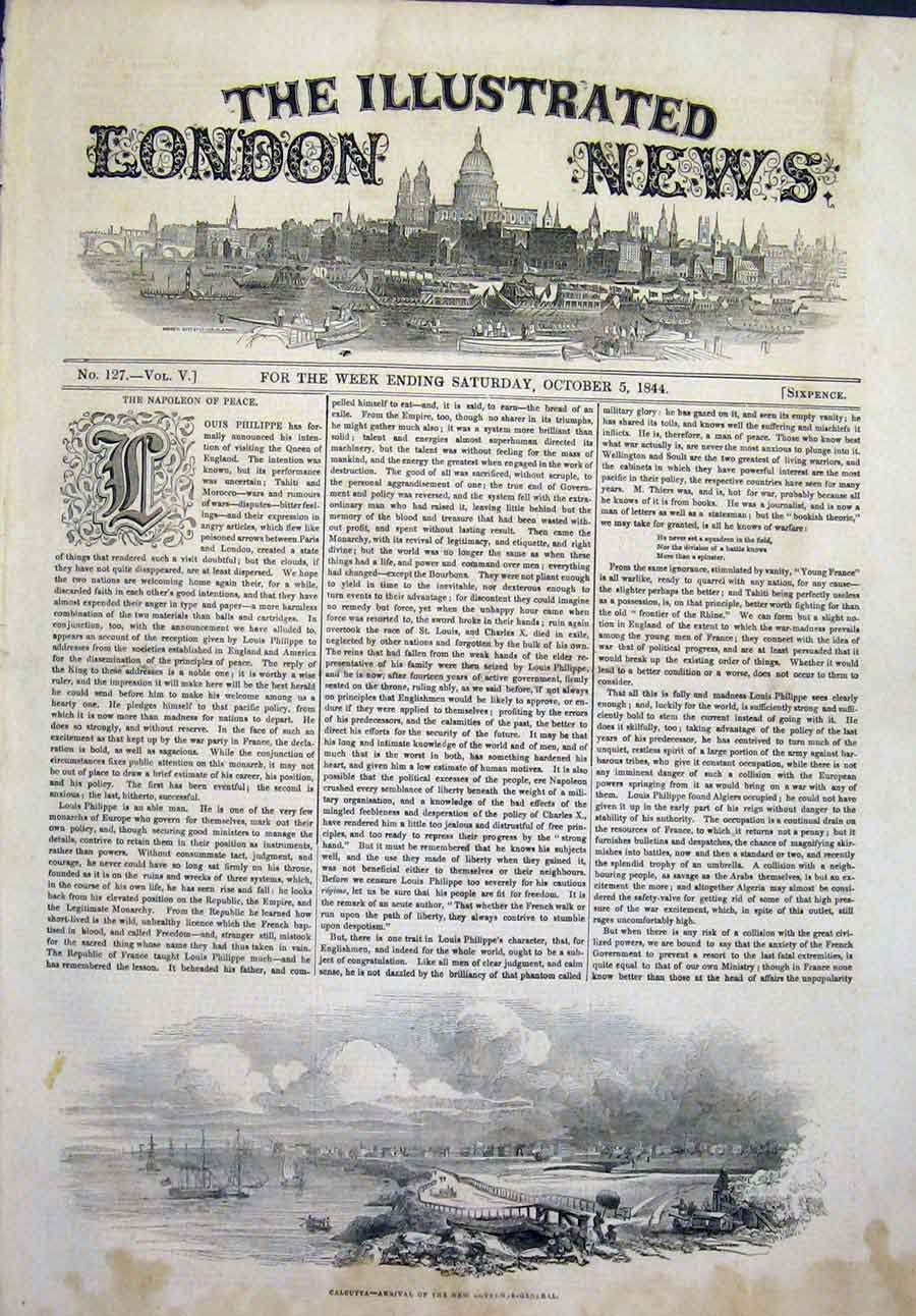 Print Calcutta Governor General India 1844 10Maa1 Old Original