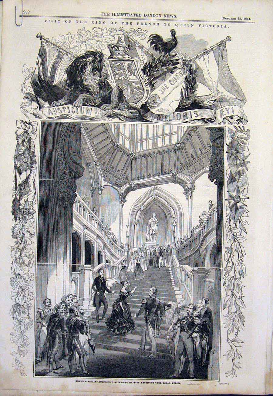 Print French King Windsor Castle Queen Victoria Philippe 1844 32Amaa1 Old Original