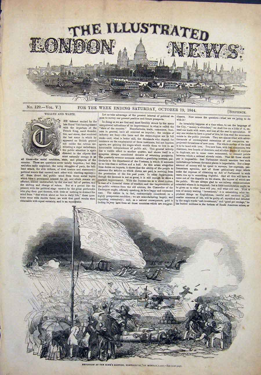 Print Portsmouth King'S Bastion Explosion Guns Cannons 1844 42Maa1 Old Original