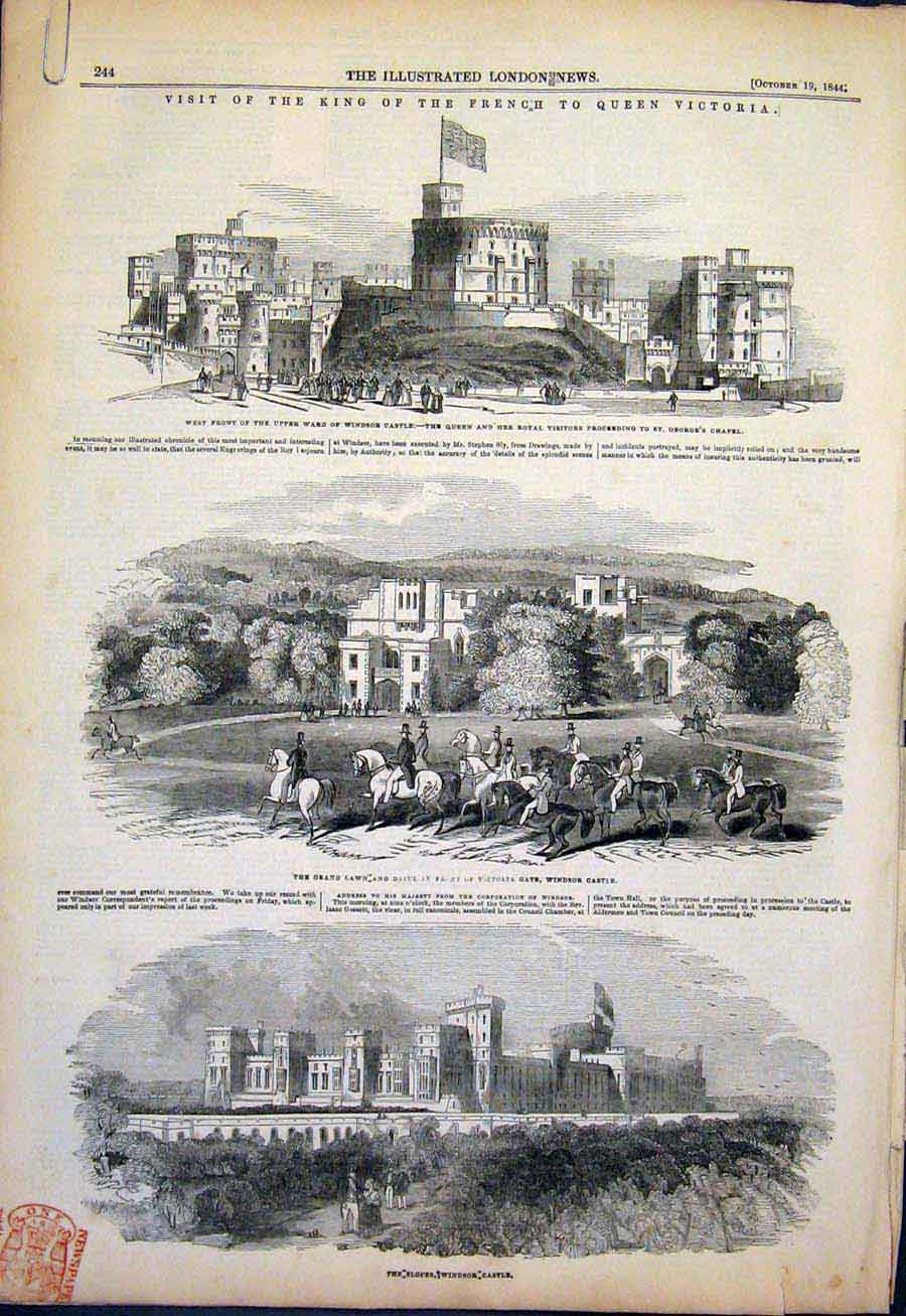 Print French King Queen Victoria Windsor Castle London 1844 44Amaa1 Old Original