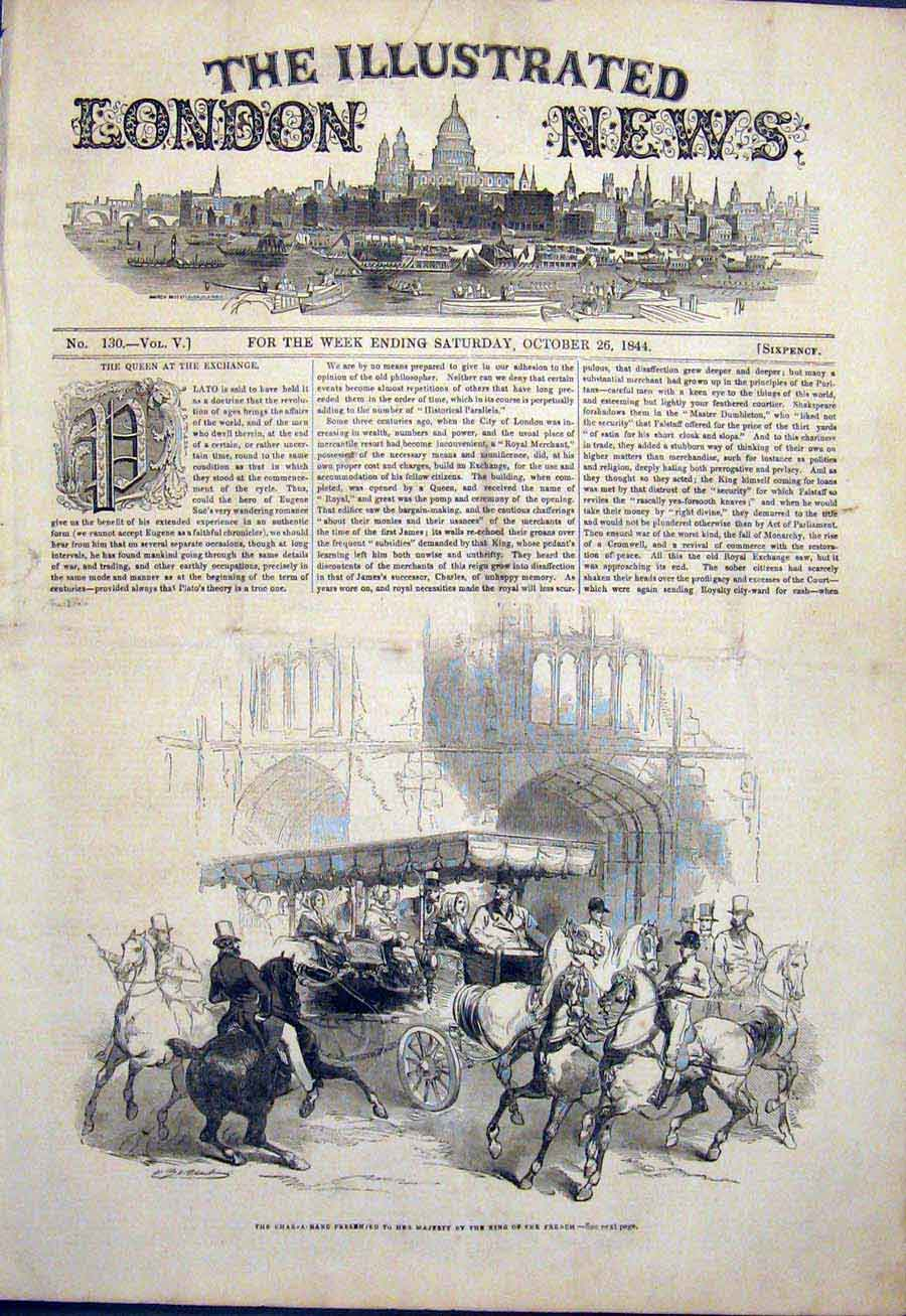 Print Char-A-Banc Queen King French Horse Cariage London 1844 58Maa1 Old Original
