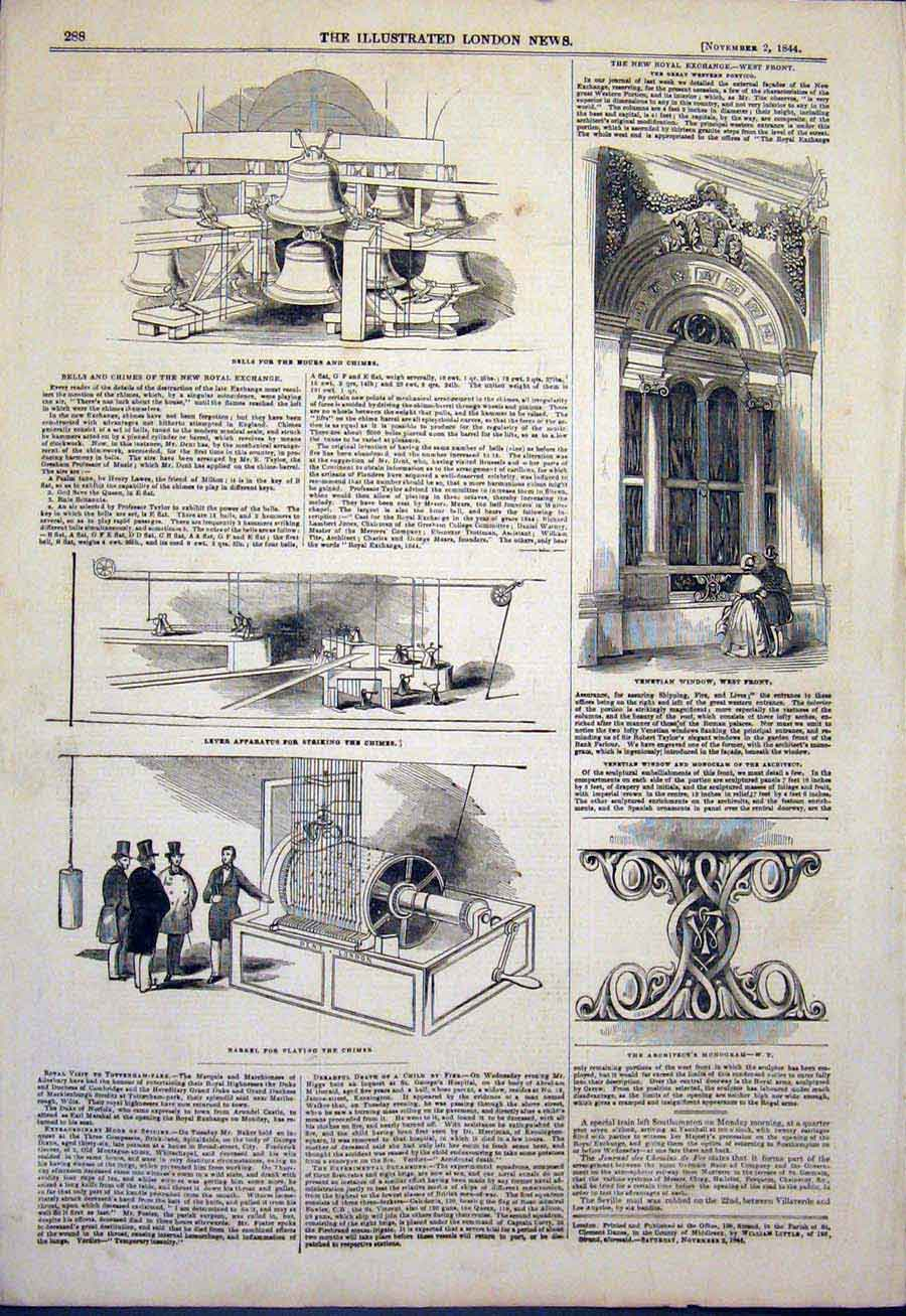 Print Bell Bells Chime Chimes Venetian Window Royal Exchange 88Maa1 Old Original