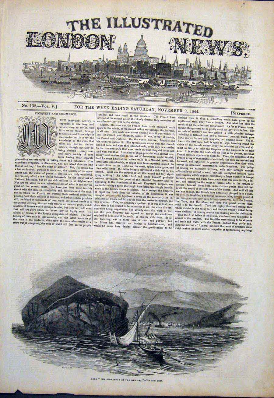 Print Aden Red Sea Gibraltar Arabia Yemen 1844 90Maa1 Old Original