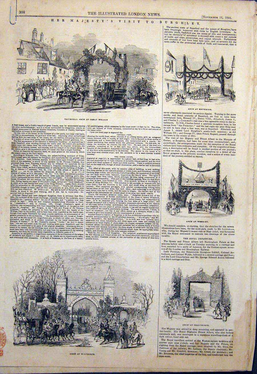 Print Burghley Weldon Kettering Arch Stamford 1844 08Amaa1 Old Original