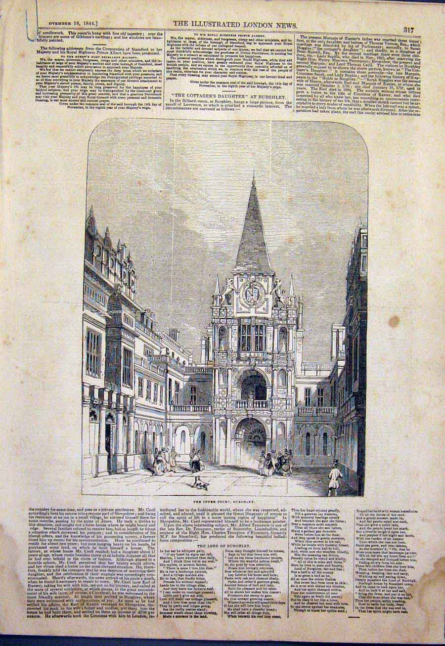 Print Burghley Stamford Court Staircase State Bed 1844 17Amaa1 Old Original